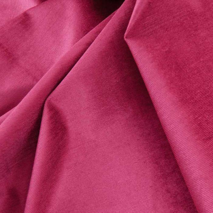 Tissu velours milleraies stretch haute couture - framboise x 10 cm