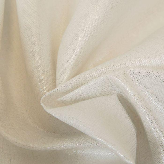 Tissu lin lamé - Blanc Argenté x 10 cm