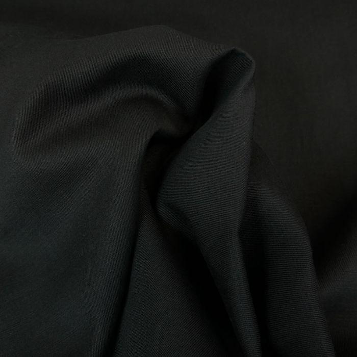 Tissu sergé de coton lin bio uni - noir x 10 cm