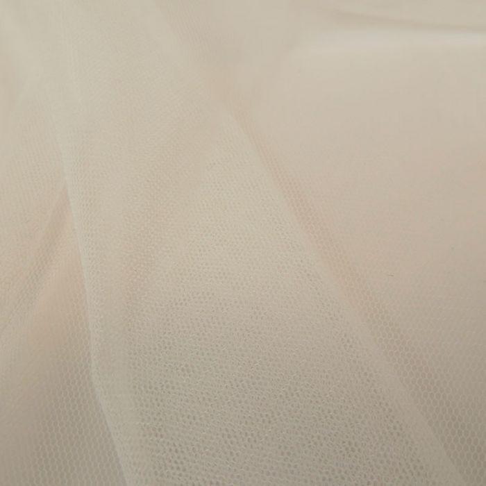 Tissu tulle fin souple - blanc cassé x 10 cm