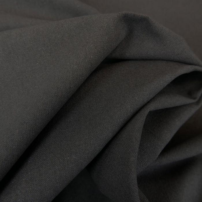 Tissu cretonne coton uni - gris fumée x 10cm