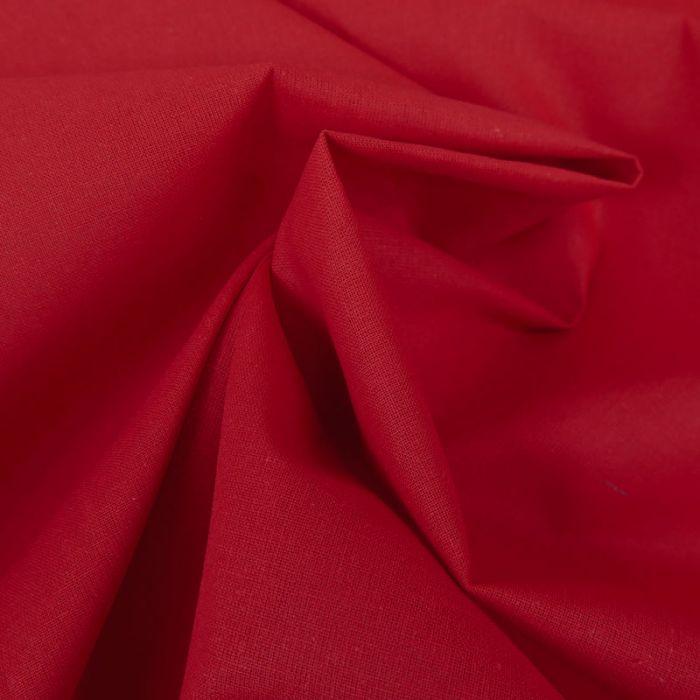 Tissu cretonne coton uni - rouge x 10cm