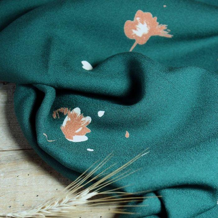 Tissu crêpe viscose Windy vert sapin - Eglantine et Zoé x 10 cm