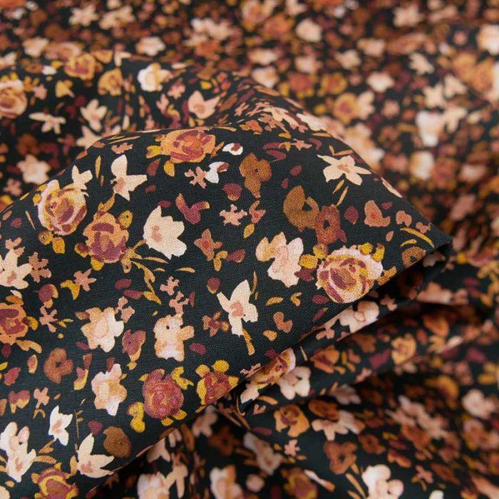 Tissu popeline coton fleurs aquarellées - noir x 10cm