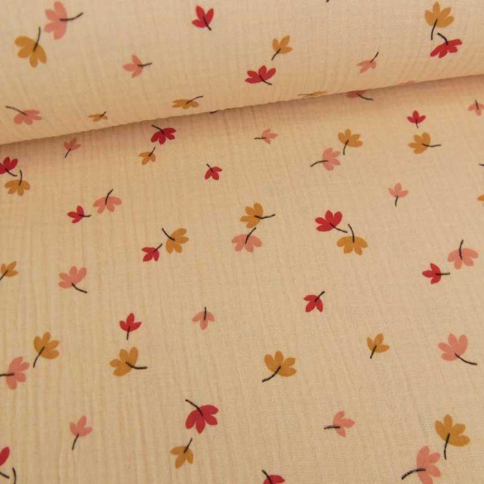 Tissu double gaze bio feuilles d'automne - rose nude x 10cm