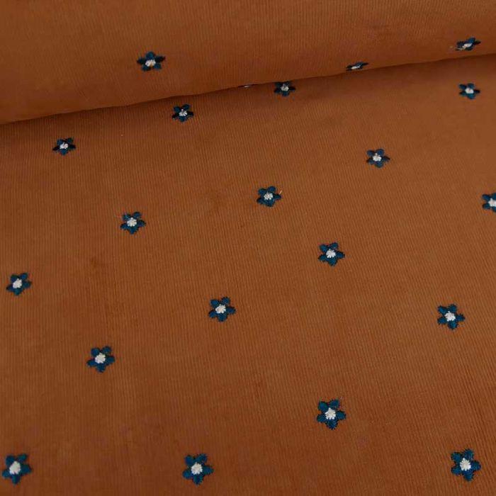 Tissu velours milleraies fleurs brodées - camel x 10 cm