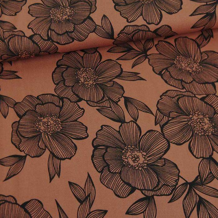 Tissu twill viscose anémones - marron argile x 10 cm