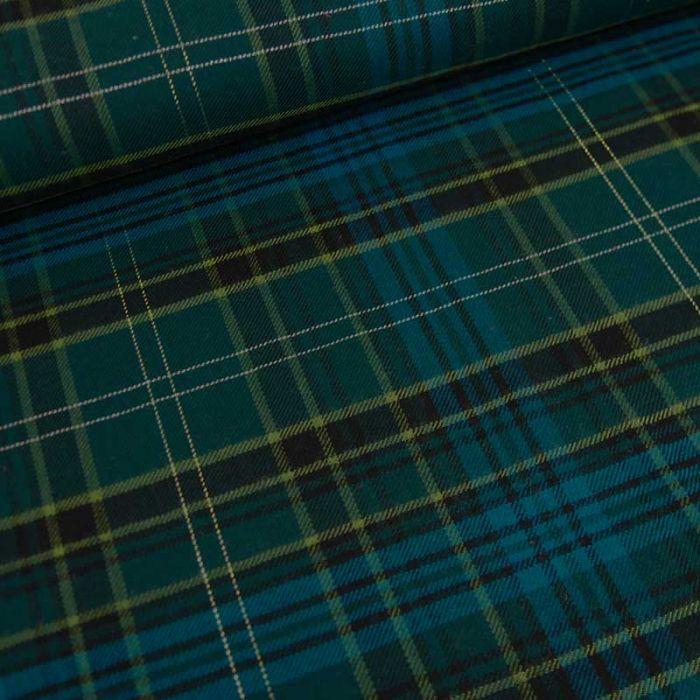 Tissu tartan viscose lurex bleu - vert canard x 10 cm