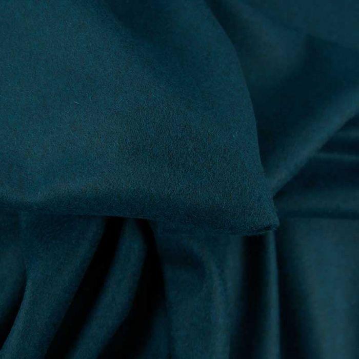 Tissu 100% cachemire haute couture - bleu pétrole x 10 cm