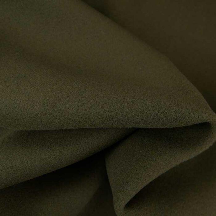 Tissu lainage haute couture - vert kaki x 10 cm