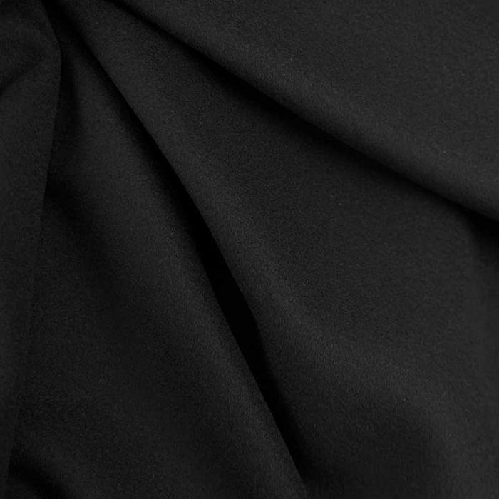 Tissu 100% cachemire haute couture - noir x 10 cm