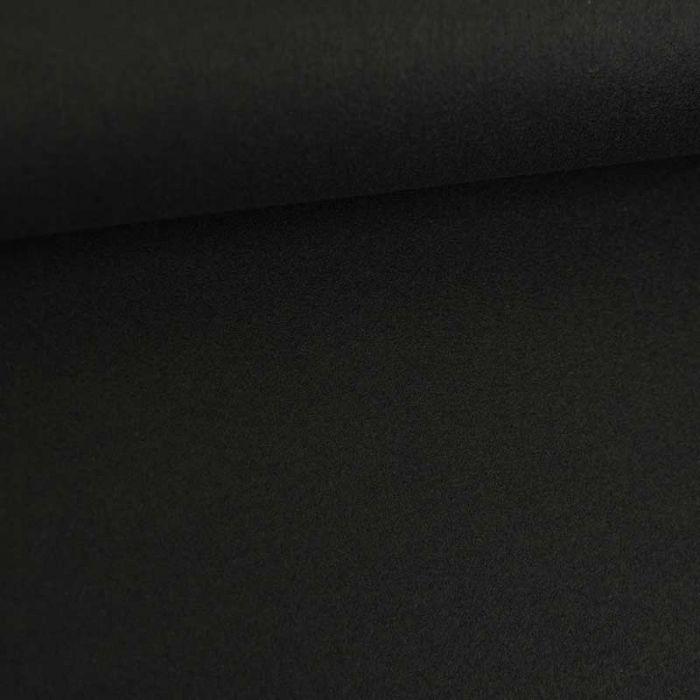 Tissu lainage uni - noir x 10 cm