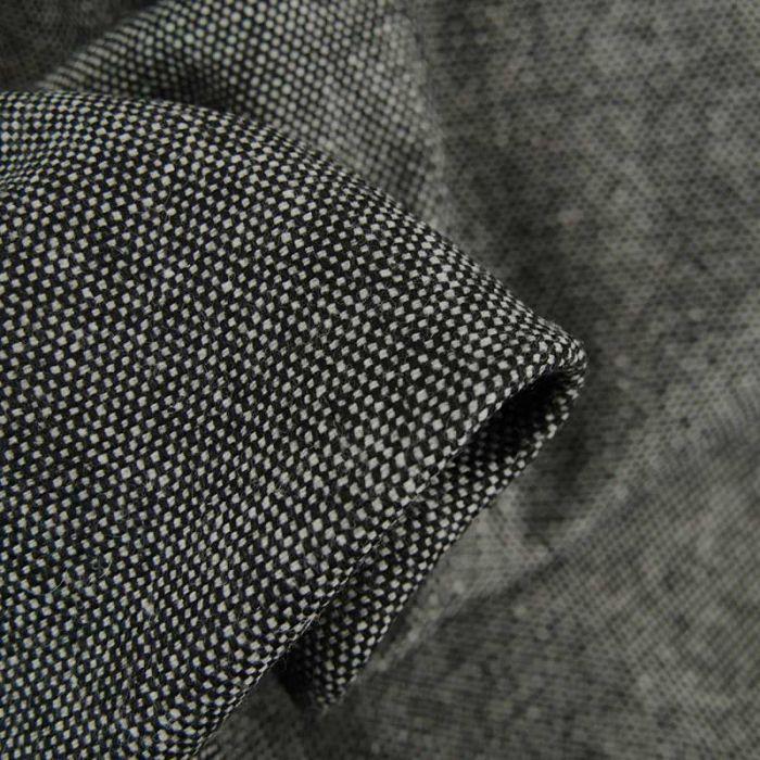 Tissu lainage tweed natté - gris chiné x 10 cm