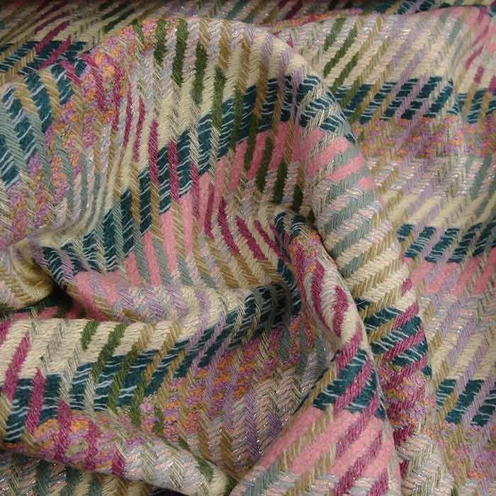 Tissu lainage tweed lurex haute couture - rose x 10 cm