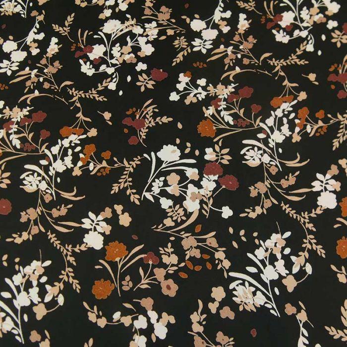 Tissu polyester satiné fleurs - noir x 10 cm