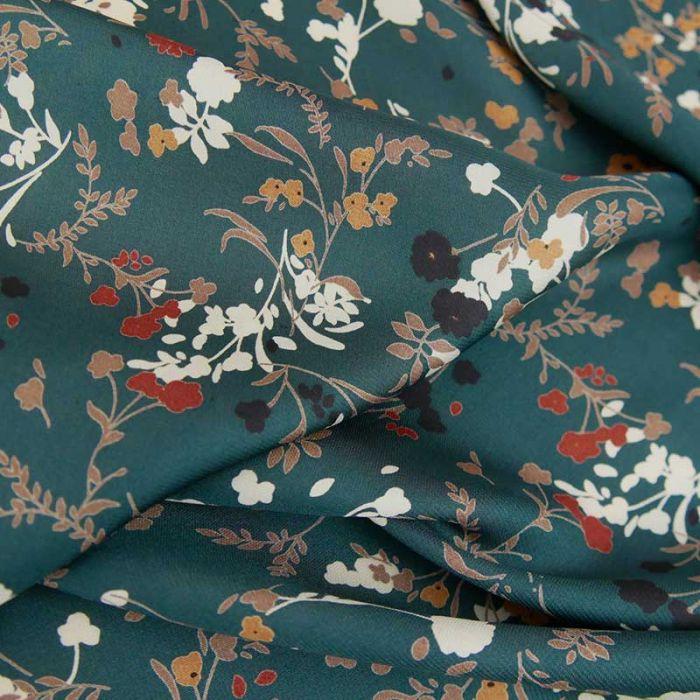 Tissu polyester satiné fleurs - vert pétrole x 10 cm
