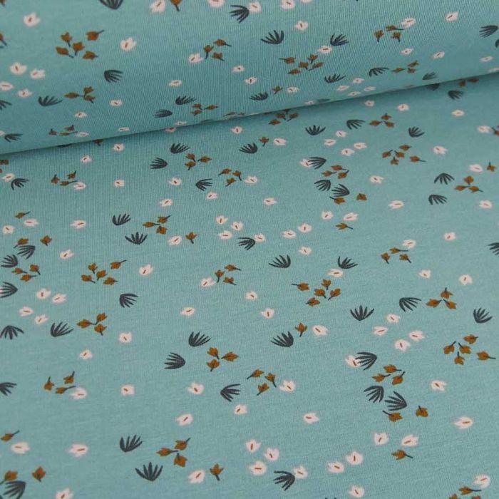 Tissu jersey coton oeko-tex tempête - bleu baltique x 10cm