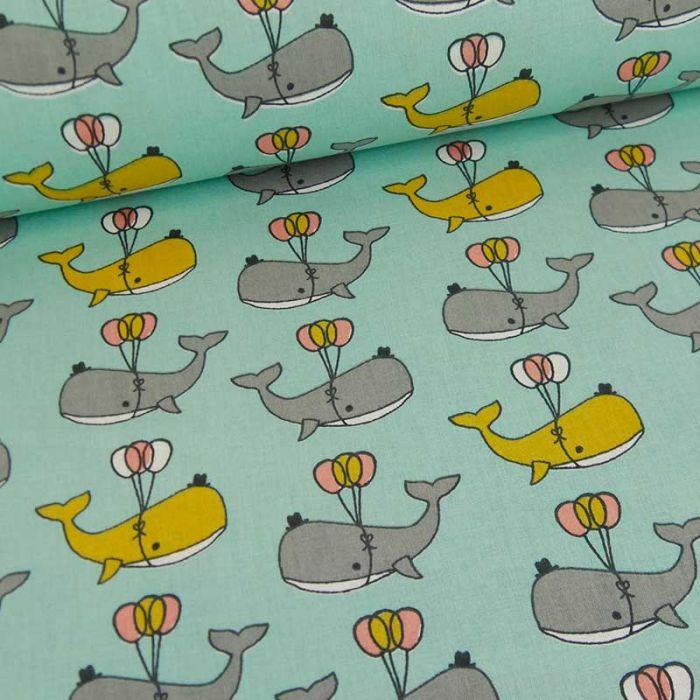 Tissu coton oeko-tex baleines en fête - bleu vert x 10cm