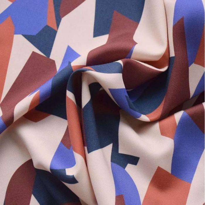 Tissu twill viscose Cubisme Iris - Cousette x 10 cm
