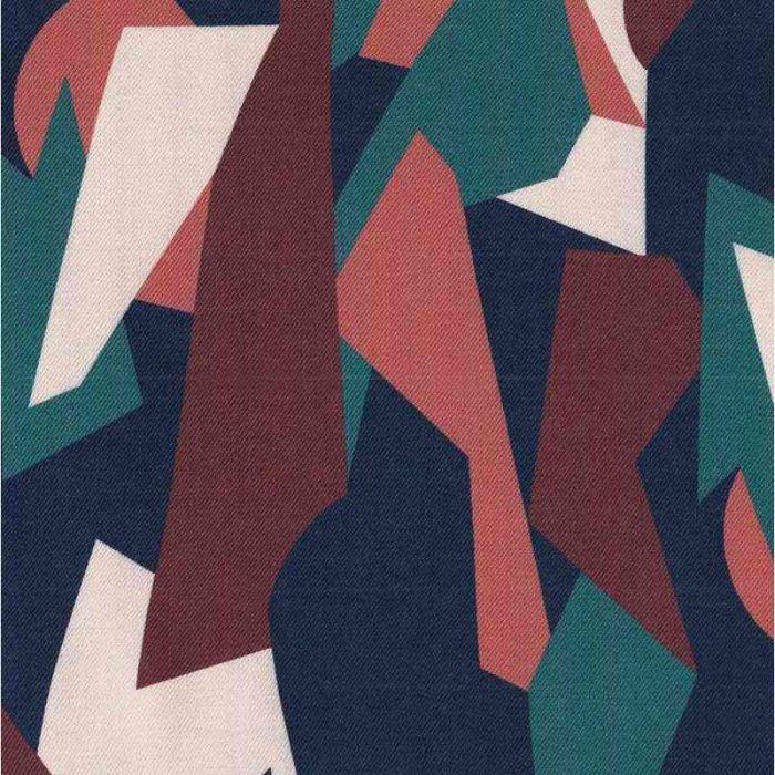 Tissu twill viscose Cubisme Mélèze - Cousette x 10 cm