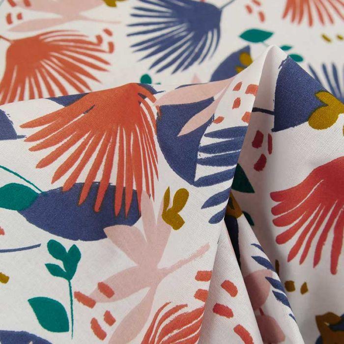 Tissu coton oeko-tex palmes - blanc cassé x 10cm