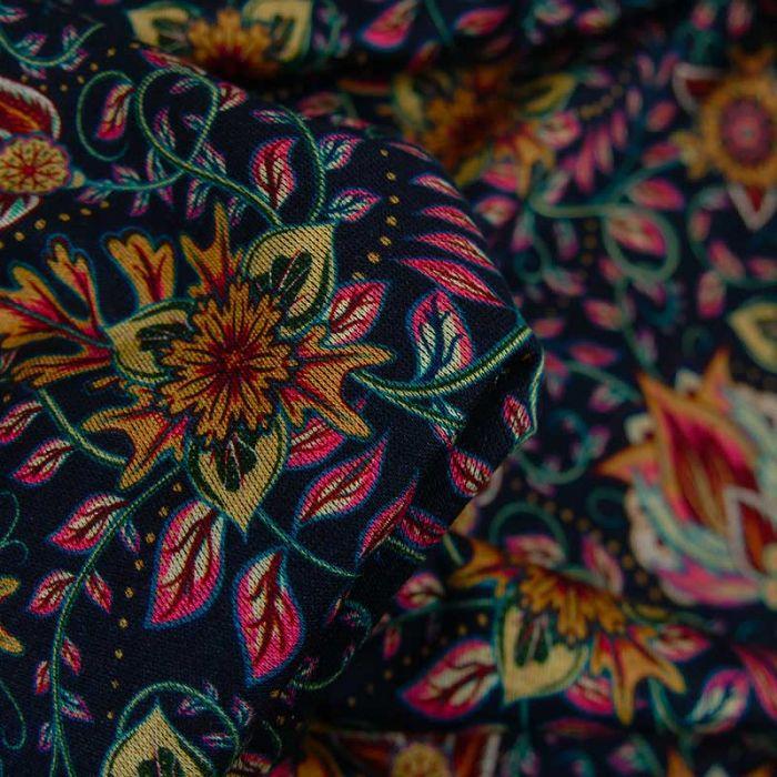 Tissu jersey viscose fleurs orientales - bleu marine x 10 cm