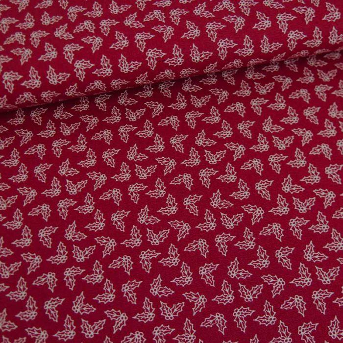 Tissu popeline de coton houx de noël - rouge x 10 cm