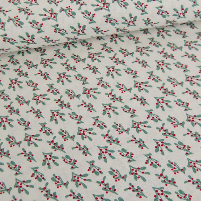 Tissu popeline de coton gui de noel - blanc x 10 cm