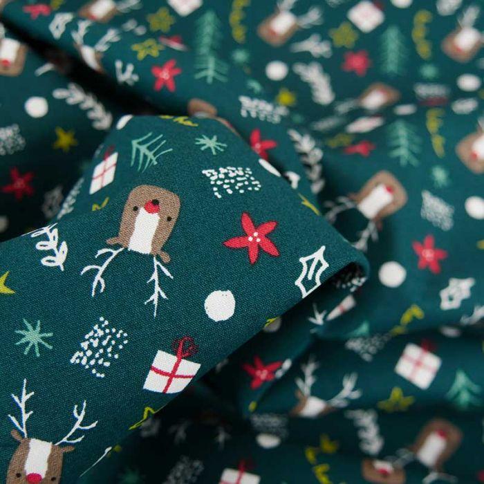 Tissu popeline de coton rennes de Noël - vert forêt x 10 cm