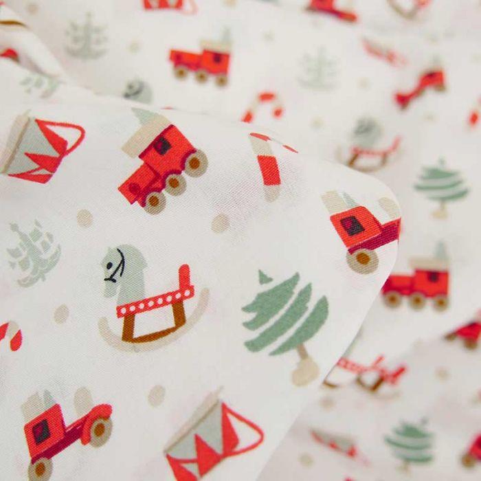 Tissu popeline de coton jouets de Noël - blanc x 10 cm
