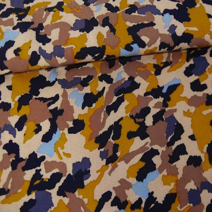 Tissu viscose camouflage abstrait - beige x 10 cm