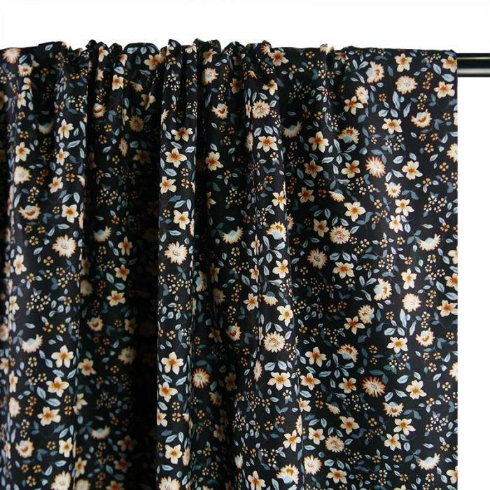 Tissu popeline coton brins fleuris bleu marine - Poppy  x 10 cm