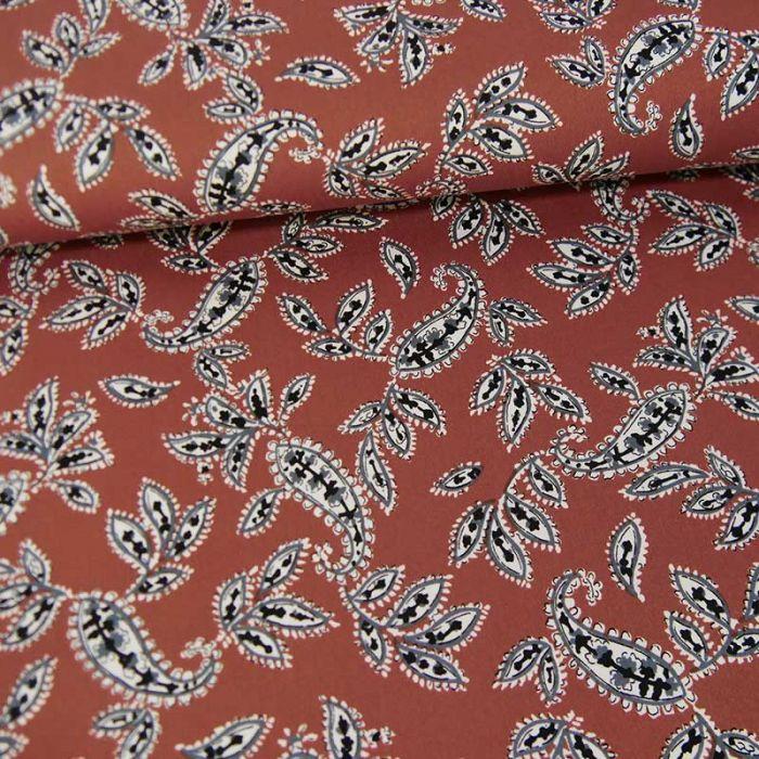 Tissu satin de coton stretch cachemire - marron cuivré x 10 cm