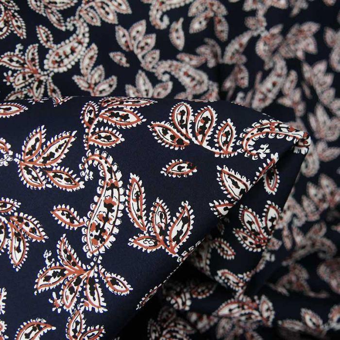 Tissu satin de coton stretch cachemire - bleu marine x 10 cm
