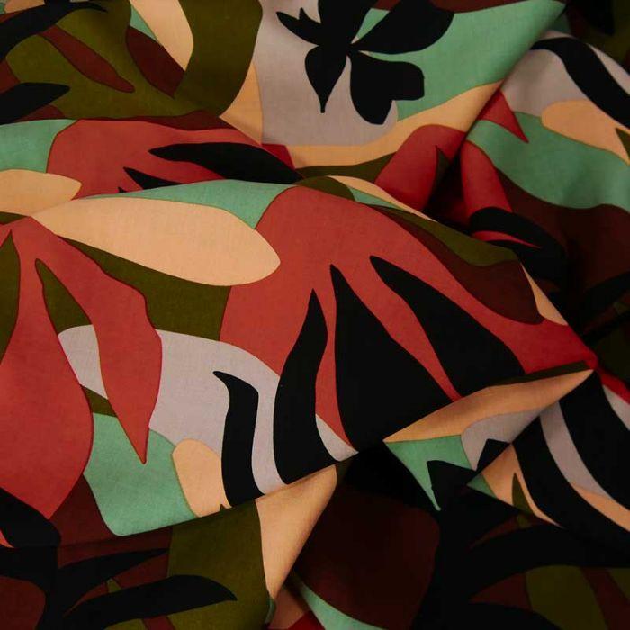 Tissu viscose été indien - vert x 10 cm