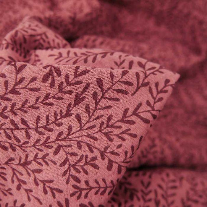 Tissu double gaze bio petites pousses - rouge brun x 10cm