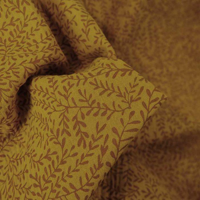 Tissu double gaze bio petites pousses -  jaune miel x 10cm