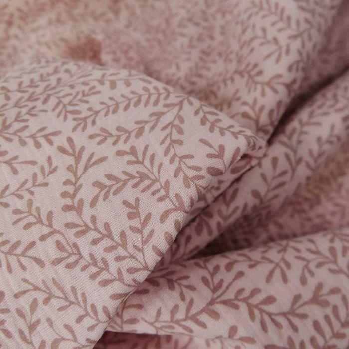 Tissu double gaze bio petites pousses -  rose clair x 10cm