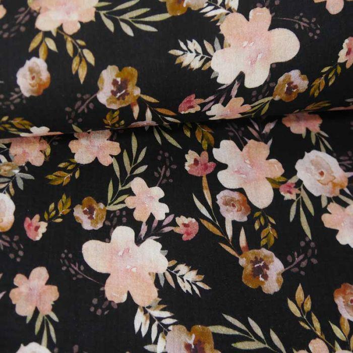 Tissu double gaze bio fleurs églantines - noir x 10cm