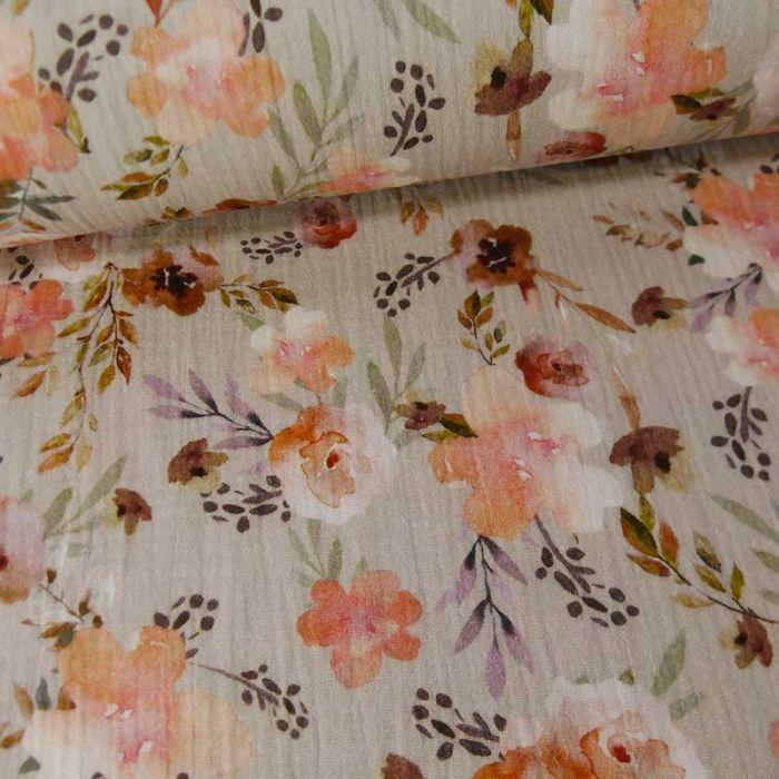 Tissu double gaze bio fleurs églantines - gris clair x 10cm