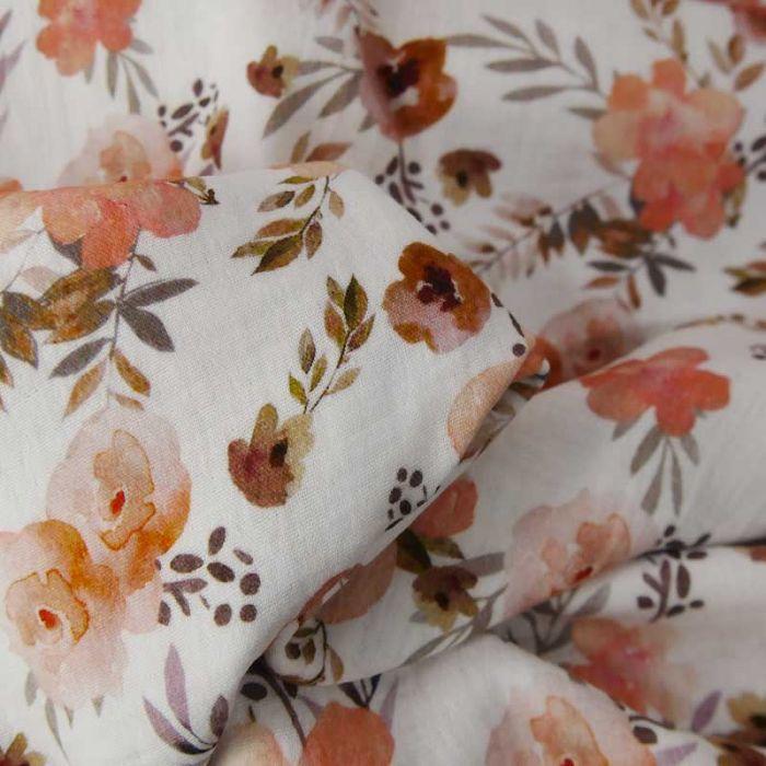 Tissu double gaze bio fleurs églantines - blanc x 10cm