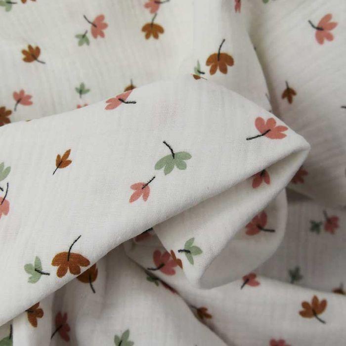 Tissu double gaze bio feuilles d'automne - blanc cassé x 10cm