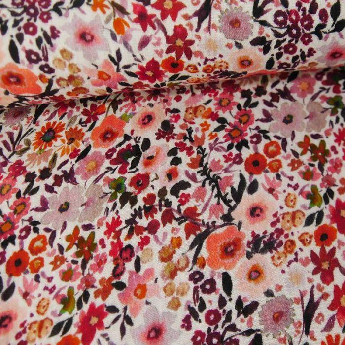 Tissu double gaze bio aquarelle de fleurs - rose x 10cm