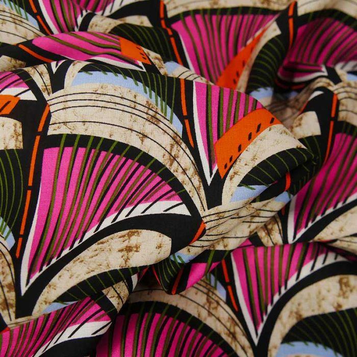 Tissu viscose écailles roses - beige x 10 cm