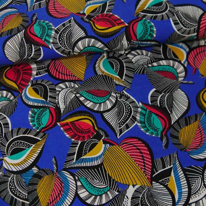 Tissu viscose feuillage coloré - bleu x 10 cm