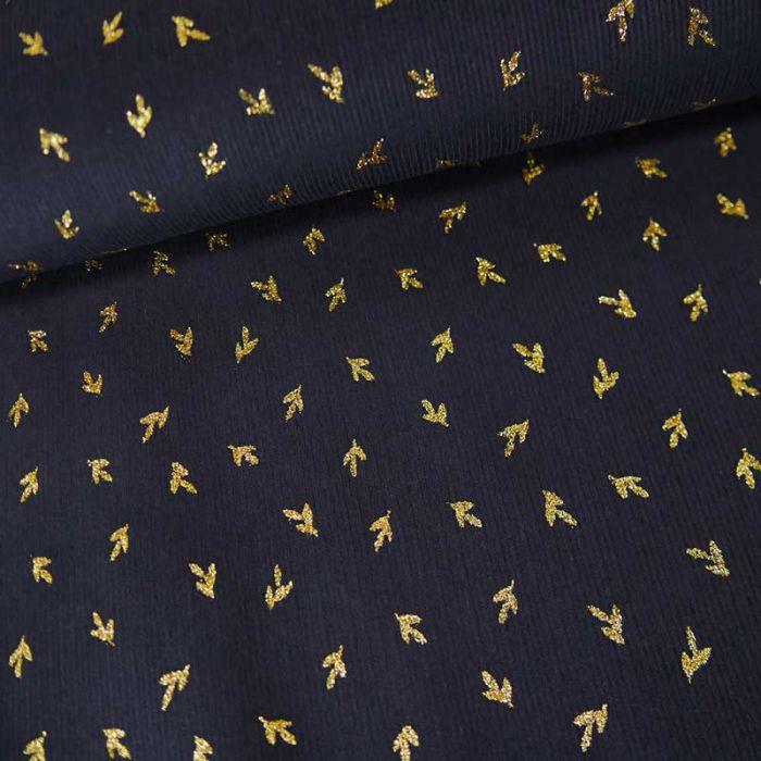 Tissu velours milleraies feuilles de thé - bleu marine x 10 cm