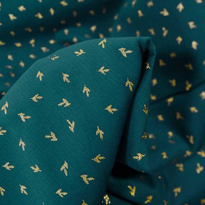 Tissu velours milleraies feuilles de thé - bleu canard x 10 cm