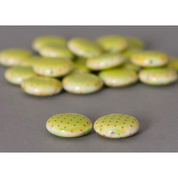 Perle pastille verte ronde à pois x1