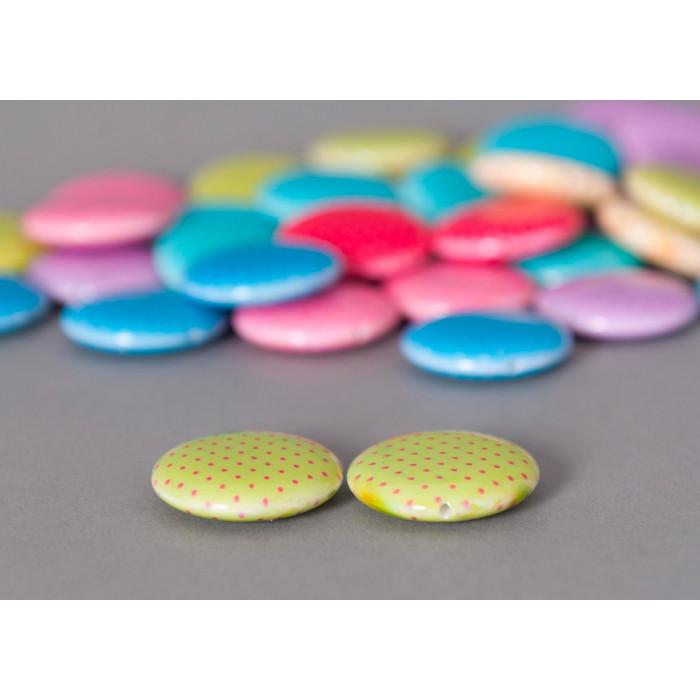 Perle pastille rose ronde à petits pois x1