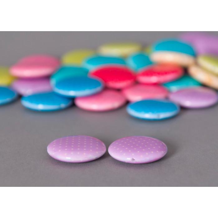 Perle pastille mauve ronde à petits pois x1